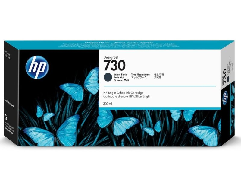 HP 730 Matte Black Original Designjet Ink Cartridge - High Yield 300ml - P2V71A
