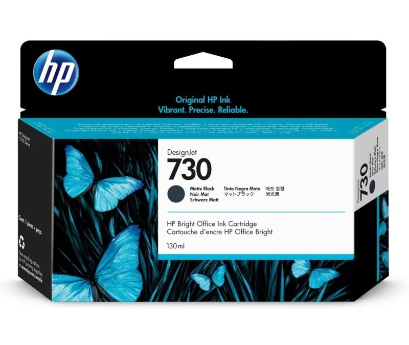 HP 730 Matte Black Original Designjet Ink Cartridge - Standard Yield 130ml - P2V65A