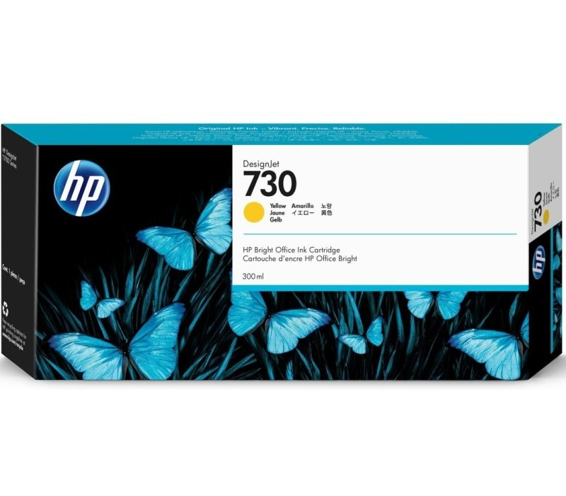 HP 730 Yellow OriginalDesignjet Ink Cartridge - High Yield 300ml - P2V70A