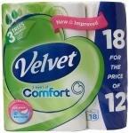 Velvet Toilet Roll Pack 18 For The Price Of Pack 12