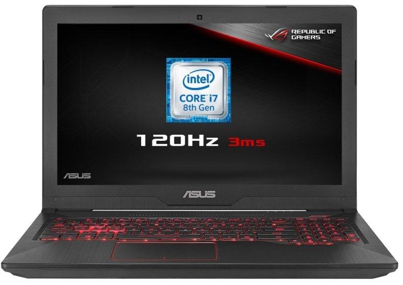 Image of ASUS TUF Gaming FX504GM Gaming Laptop, Intel Core i7-8750H 2.2GHz, 8GB RAM, 1TB HDD, 256GB SSD, 15.6 1920 x 1080, NVIDIA GF GTX 1060 6GB, WIFI, Windows 10 Home (gun metal, logo red lighting)