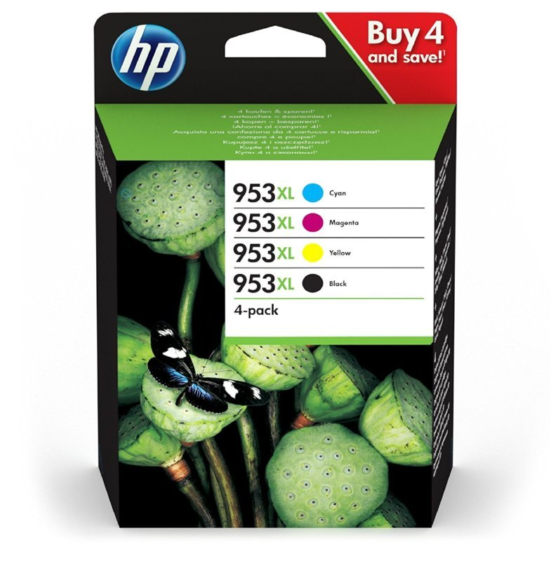 HP 953XL Multi-pack Original Ink Cartridge  - High Yield Cyan, Magenta, Yellow & Black - 3HZ52AE