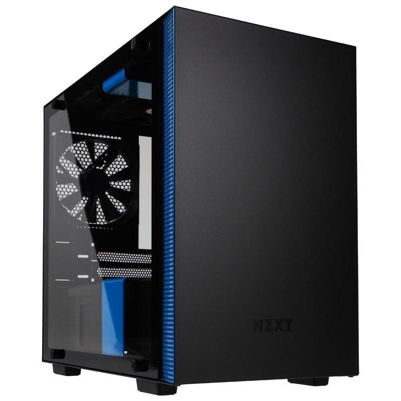 NZXT H200i Black/Blue Mini Tower Gaming PC Case