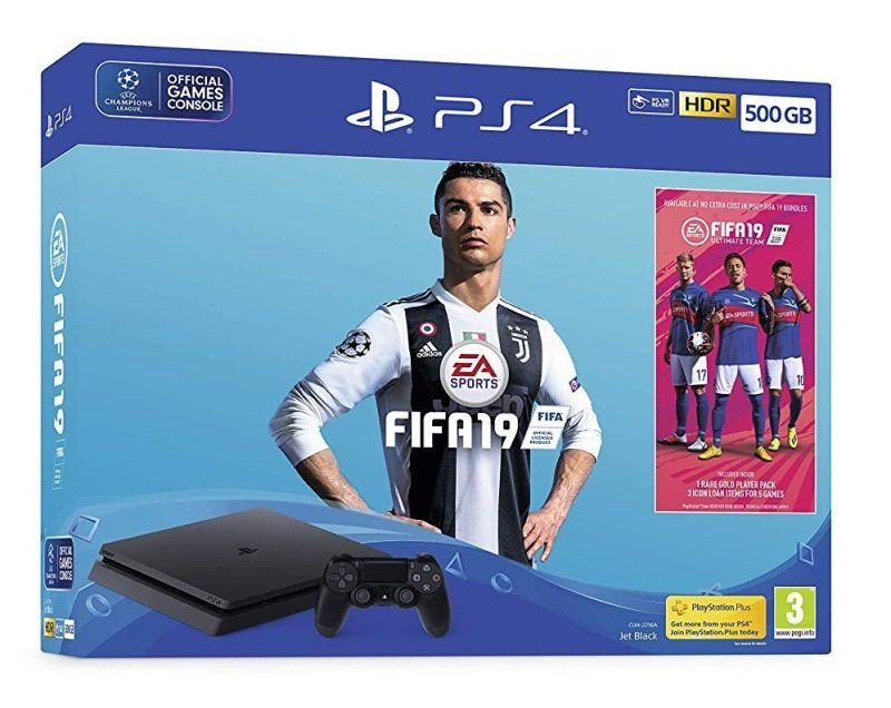 Sony 500GB Black PS4 with Fifa 19