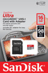 SanDisk 16GB Ultra MicroSD UHS-I Card with Adapter