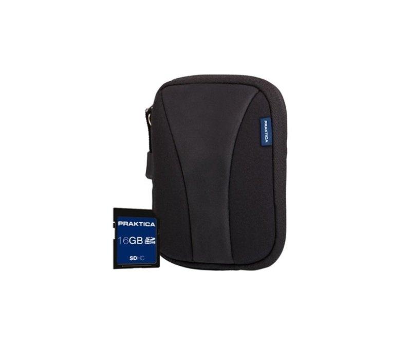 PRAKTICA 16GB SDHC Card and Neoprene Case Bundle
