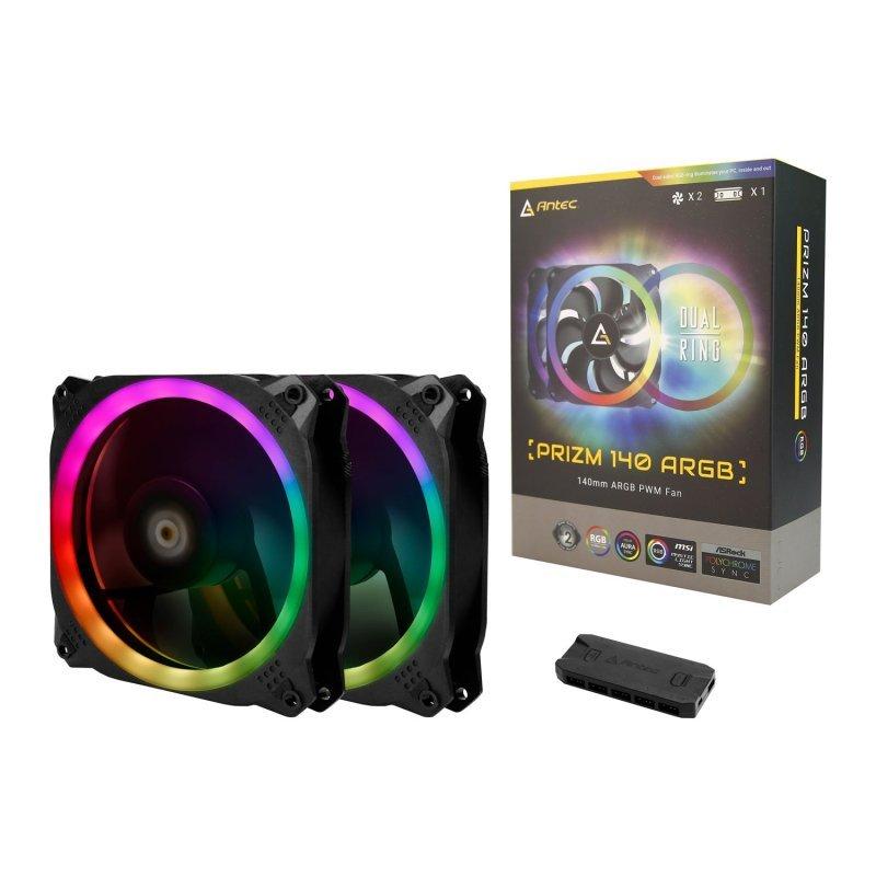 Antec Prizm 140mm Addressable RGB Case Fans - Dual Pack