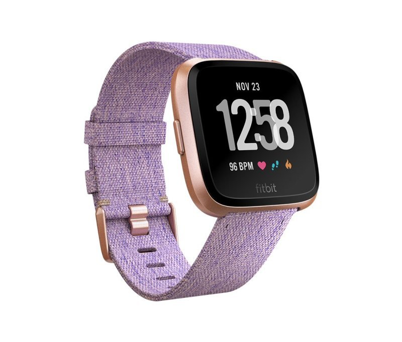 Fitbit Versa Special Edition Smart Watch - Rose Gold with Woven Lavender Strap