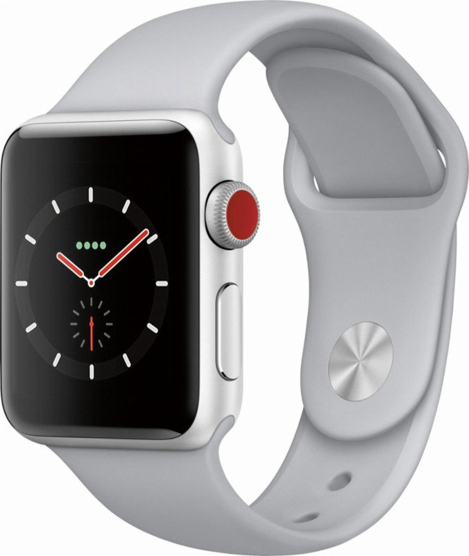 Apple Watch Series 3 GPS + Cellular, 38mm Silver Aluminium Case with Fog Sport Band cheapest retail price