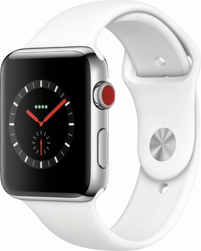 Watch Series 3 (GPS + Cellular), 42mm Stainless Steel Case with Soft White Sport Band