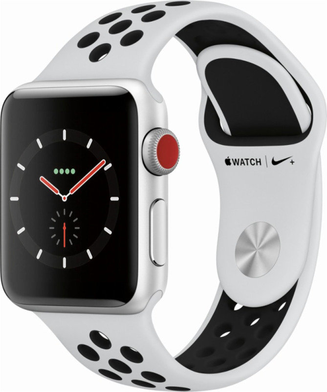 Apple Watch Nike+ GPS + Cellular, 38mm Silver Aluminium Case with Pure Platinum/Black Nike Sport Band cheapest retail price