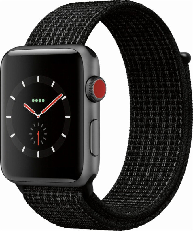 Buy Brand New Apple Watch Nike+ Series 3, GPS and Cellular, 42mm Space Grey Aluminium Case with Nike Sport Loop, Black / Pure Platinum