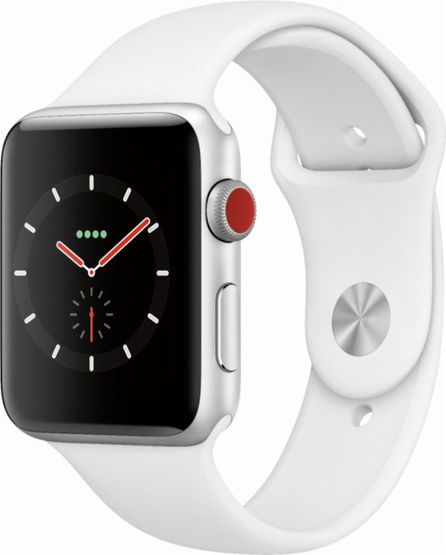 Buy Brand New Apple Watch Series 3 GPS + Cellular, 42mm Silver Aluminium Case with White Sport Band