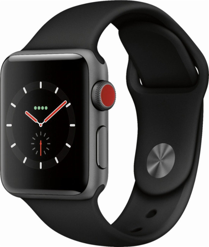 Buy Brand New Apple Watch Series 3 GPS + Cellular, 38mm Space Grey Aluminium Case with Black Sport Band