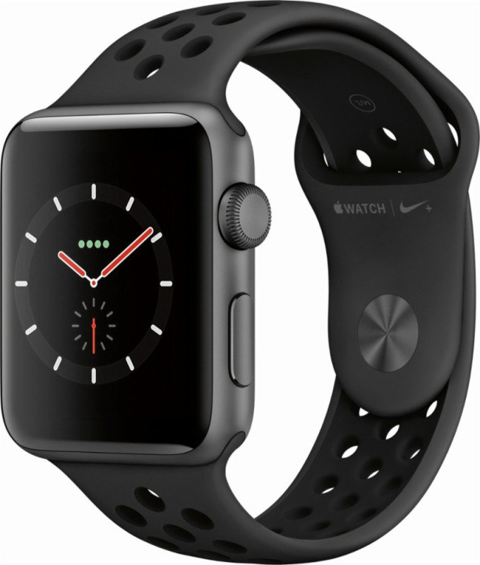 Apple Watch Nike+ Series 3 GPS, 42mm Space Grey Aluminium Case with Anthracite/Black Nike Sport Band cheapest retail price