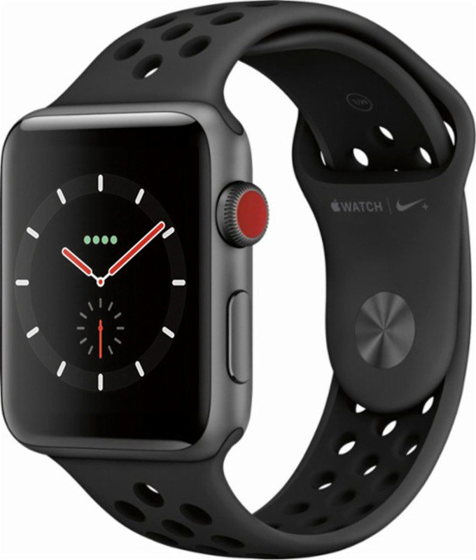 Apple Watch Nike+ GPS + Cellular, 42mm Space Grey Aluminium Case with Anthracite/Black Nike Sport Band cheapest retail price