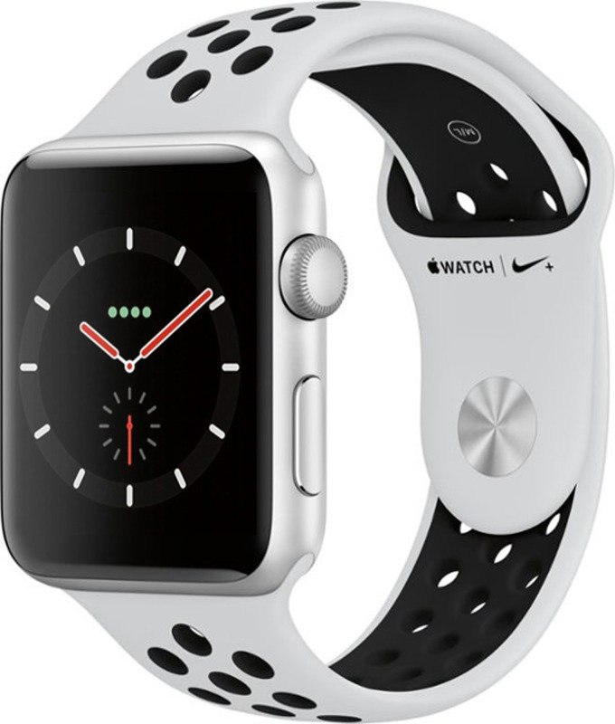 Apple Watch Nike+ GPS, 42mm Silver Aluminium Case with Pure Platinum/Black Nike Sport Band cheapest retail price