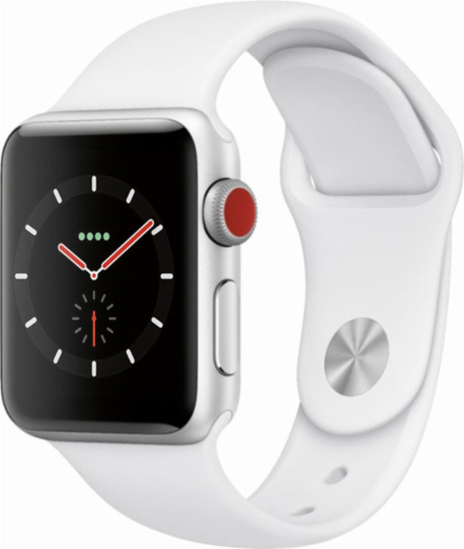 Apple Watch Series 3 GPS + Cellular, 38mm Silver Aluminium Case with White Sport Band cheapest retail price