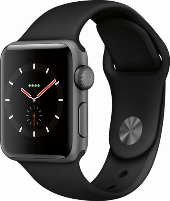 Apple Watch Series 3 GPS, 38mm Space Grey Aluminium Case with Black Sport Band cheapest retail price