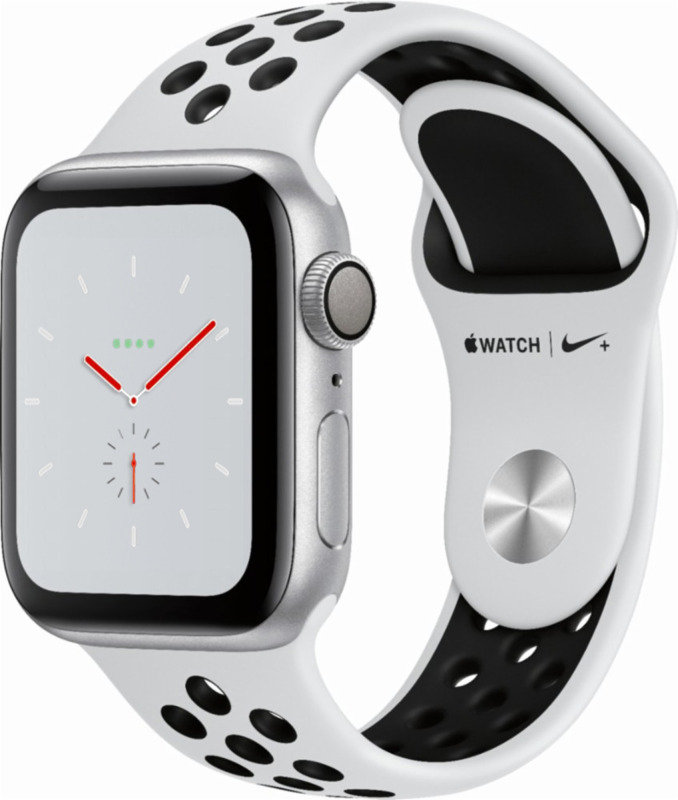Apple Watch Nike+ Series 4 GPS, 40mm Silver Aluminium Case with Pure Platinum/Black Nike Sport Band cheapest retail price