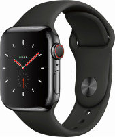 Apple Watch Series 4 GPS + Cellular, 40mm Space Black Stainless Steel Case with Black Sport Band
