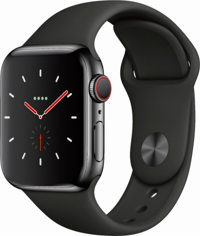 Compare prices with Phone Retailers Comaprison to buy a Apple Watch Series 4 GPS + Cellular, 40mm Space Black Stainless Steel Case with Black Sport Band