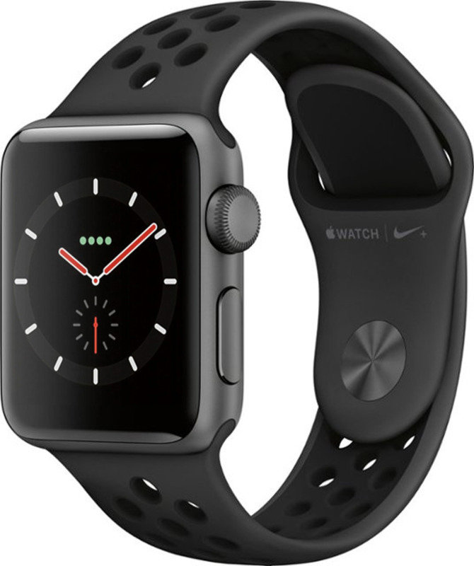Apple Watch Nike+ Series 3 GPS + Cellular, 38mm Space Grey Aluminium Case with Anthracite/Black Nike Sport Band cheapest retail price