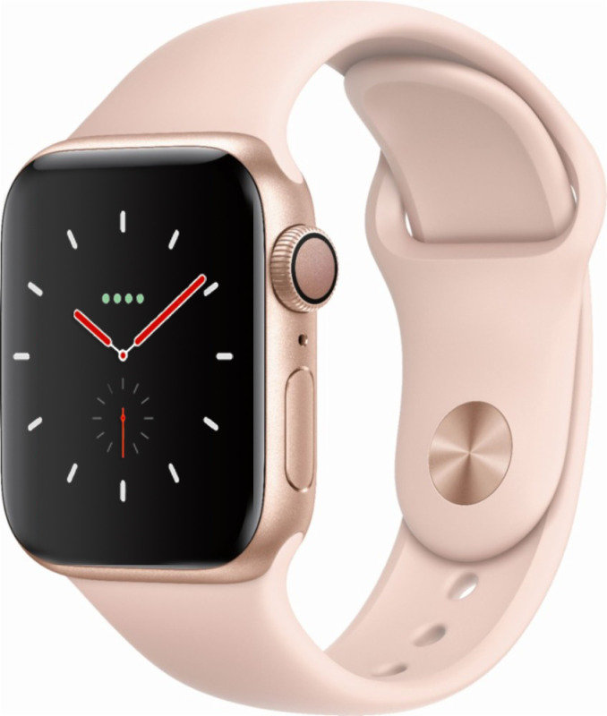 Apple Watch Series 4 GPS + Cellular, 44mm Gold Aluminium Case with Pink Sand Sport Band cheapest retail price