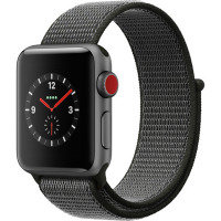 Apple Watch Series 3 GPS + Cellular, 38mm Space Grey Aluminium Case with Dark Olive Sport Loop