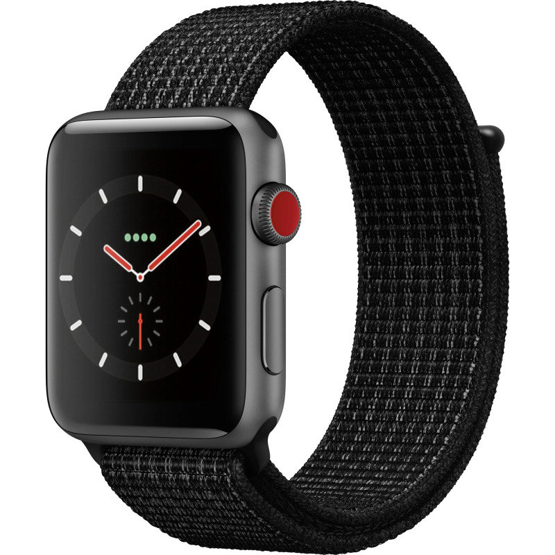 Apple Watch Nike+ Series 3 (GPS + Cellular), 38mm Space Grey Aluminium Case with Black/Pure Platinum Nike Sport Loop cheapest retail price