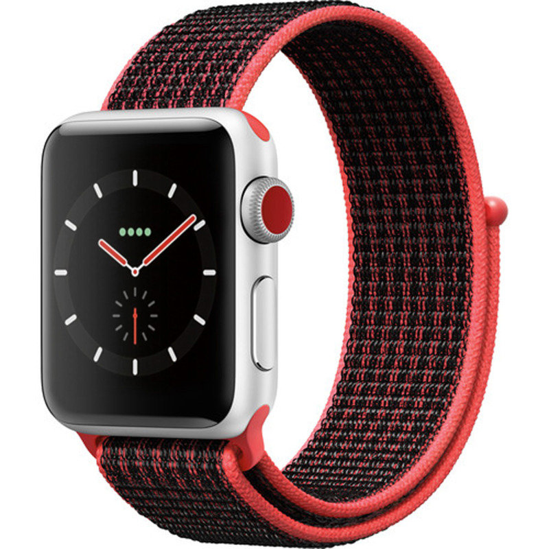 Apple Watch Series 3 Nike+ - 38mm - GPS + Cellular - Silver Aluminum Case - Bright Crimson/Black Nike Sport Loop Band cheapest retail price