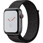 Apple Watch Nike+, Series 4, GPS and Cellular, 44mm Platinum Aluminium Case with Nike Sport Band, Black