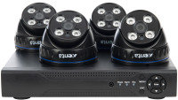 Xenta CCTV System - 8 Channel Full HD DVR with 4x Full HD Black Dome Cameras
