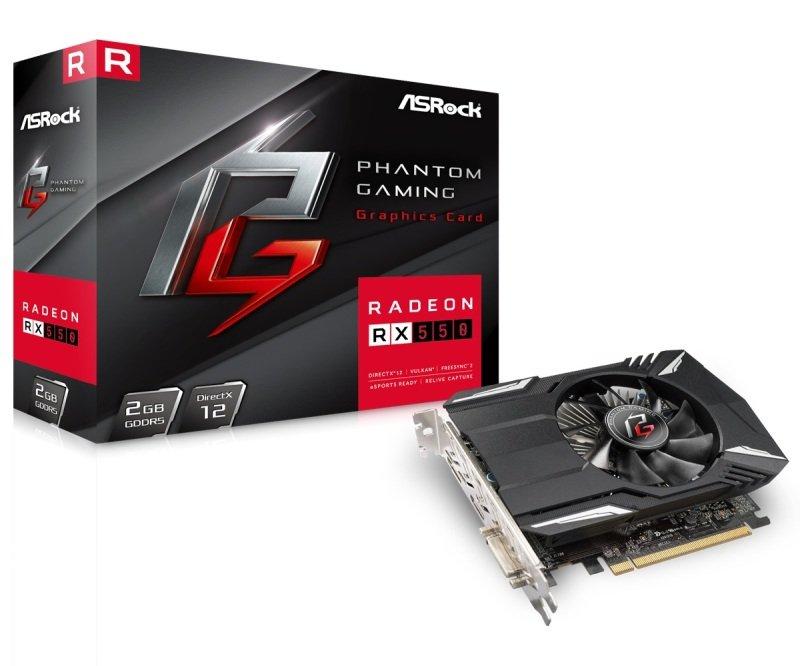 ASRock Phantom Gaming Radeon RX 550 2GB GDDR5 Graphics Card | Ebuyer com
