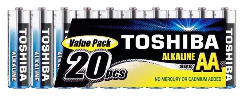 Toshiba AA Alkaline Batteries - 20 Pack