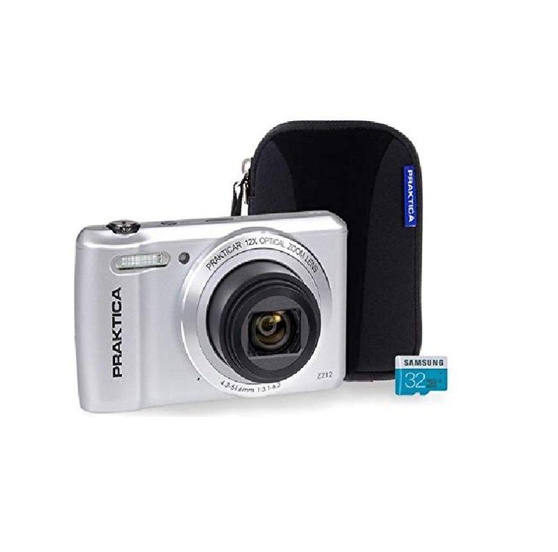 PRAKTICA Luxmedia Z212 Silver Camera Kit inc 32GB MicroSD Card & Case