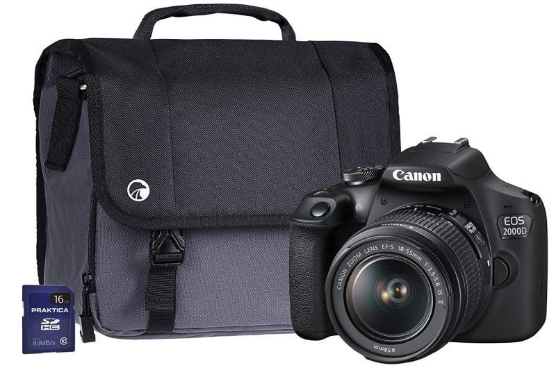 Canon EOS 2000D Black SLR Camera Kit EF-S 18-55mm IS Lens  16GB SD Card & Case