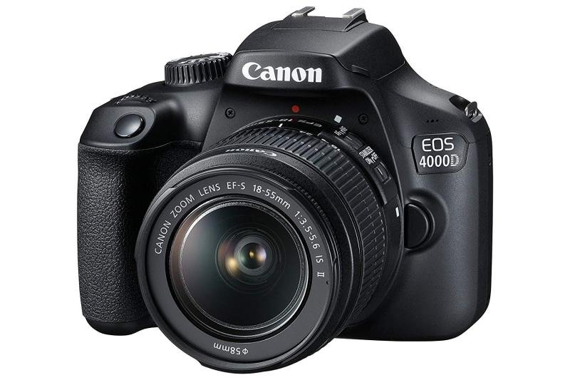Canon EOS 4000D Black SLR Camera Kit inc EF-S 18-55mm Non IS Lens  16GB SD  Case