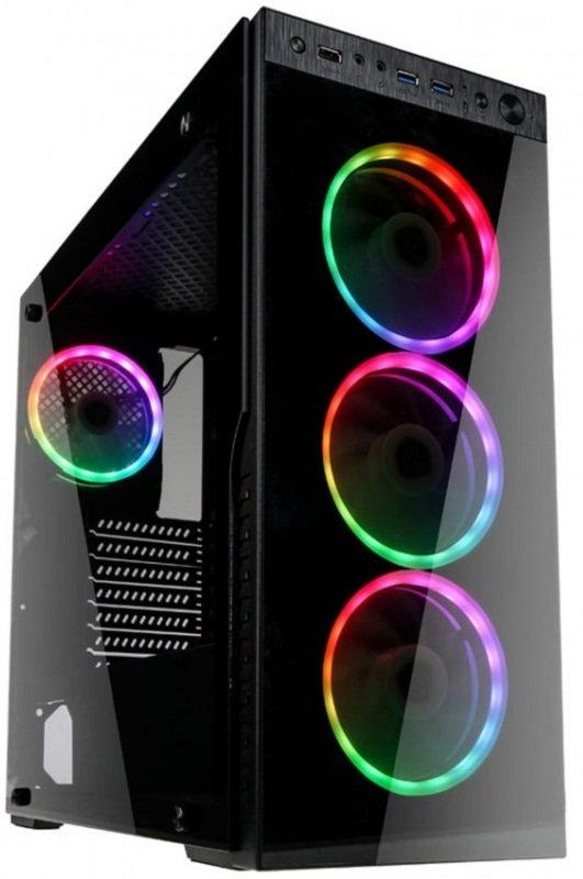 Image of Kolink Horizon Midi Tower RGB Gaming Case - Black Tempered Glass