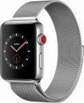 Apple Watch Series 3 GPS + Cellular, 38mm Stainless Steel Case with Milanese Loop