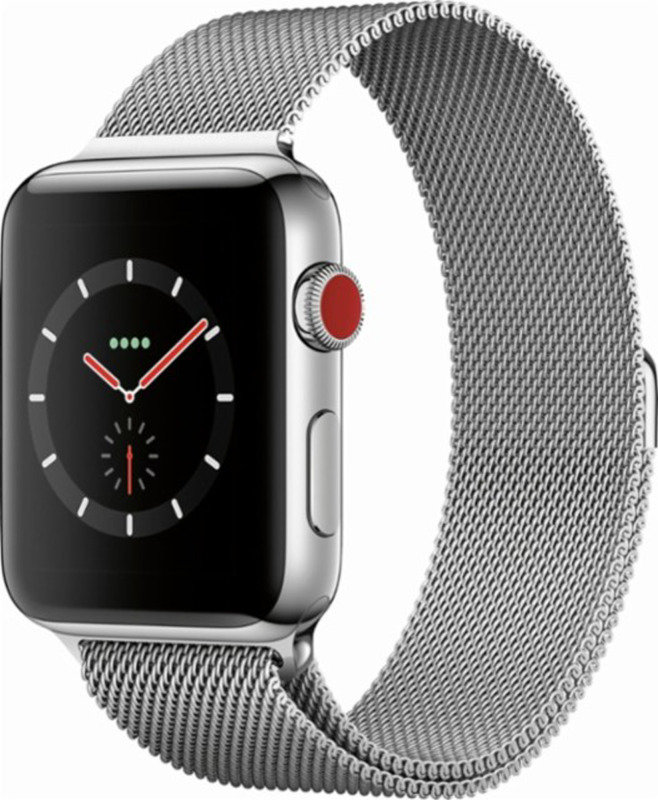 Apple Watch Series 3 GPS + Cellular, 38mm Stainless Steel Case with Milanese Loop cheapest retail price