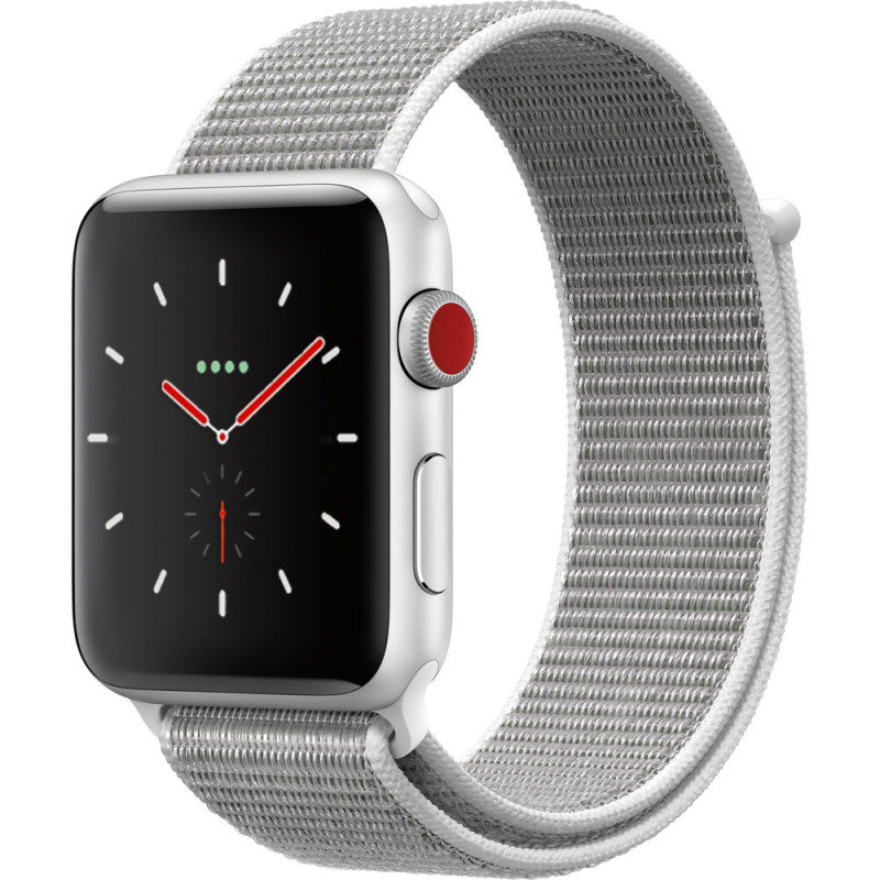 Apple Watch Series 3 GPS + Cellular, 42mm Silver Aluminium Case with Seashell Sport Loop cheapest retail price
