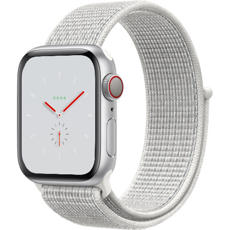 Apple Watch Nike+ Series 4 GPS + Cellular, 44mm Silver Aluminium Case with Summit White Nike Sport Loop cheapest retail price
