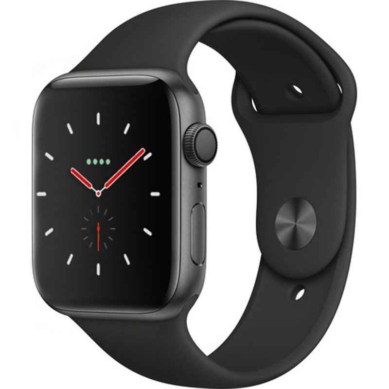 Apple Watch Series 4 GPS, 44mm Space Grey Aluminium Case with Black Sport Band cheapest retail price