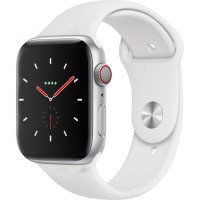 Apple Watch Series 4 GPS + Cellular, 44mm Silver Aluminium Case with White Sport Band