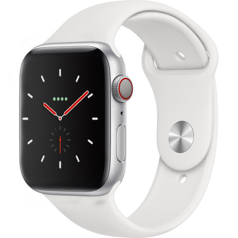 Apple Watch Series 4 GPS + Cellular, 44mm Silver Aluminium Case with White Sport Band cheapest retail price