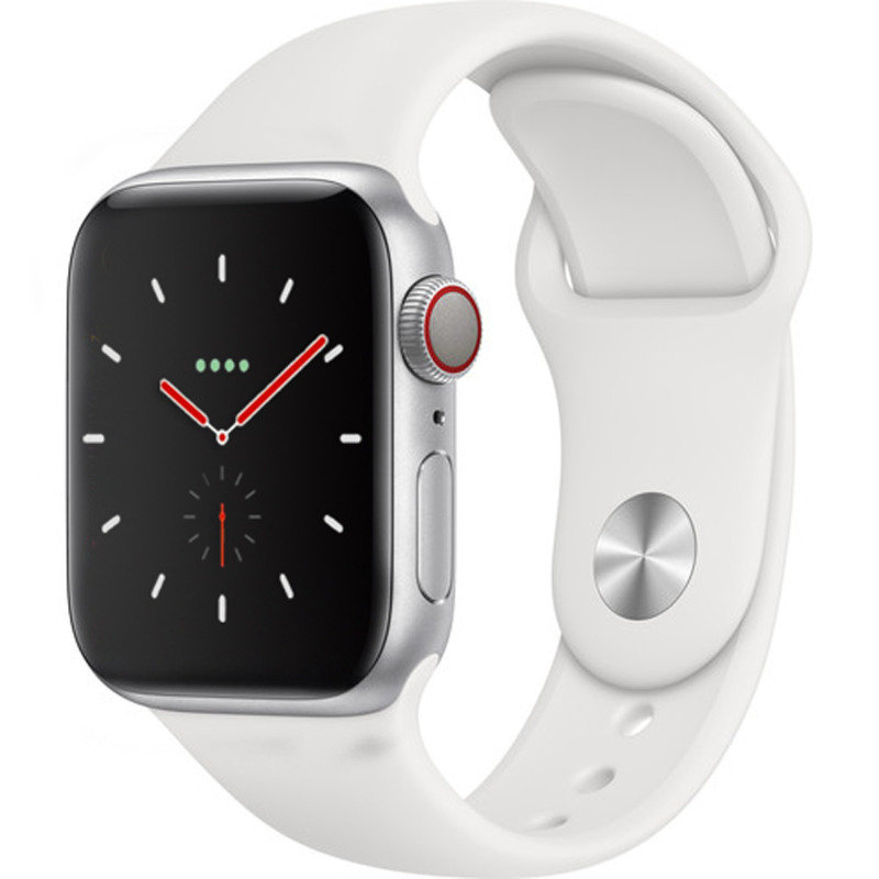 Apple Watch Series 4 GPS + Cellular, 40mm Silver Aluminium Case with White Sport Band cheapest retail price