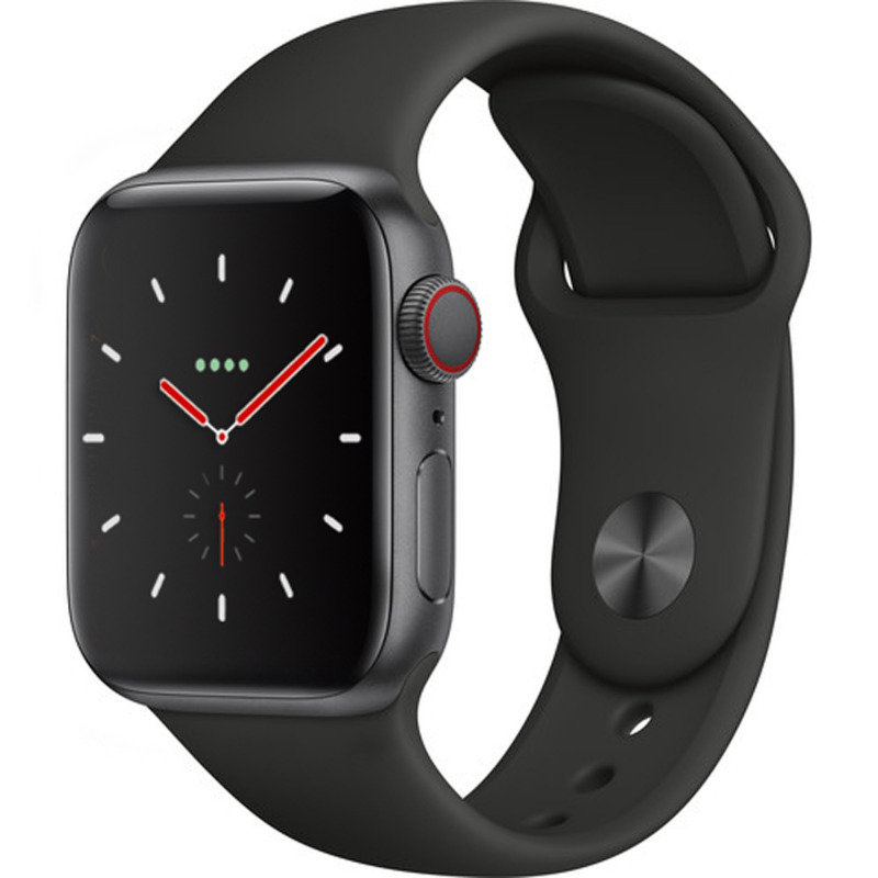 Apple Watch Series 4 GPS + Cellular, 40mm Space Grey Aluminium Case with Black Sport Band cheapest retail price