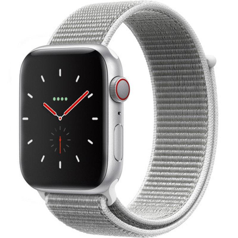 Apple Watch Series 4 GPS + Cellular, 40mm Silver Aluminium Case with Seashell Sport Loop