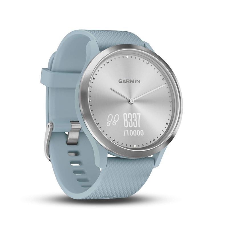 Garmin Vivomove Hr Hybrid Sport Smartwatch Silver With Seafoam Silicone